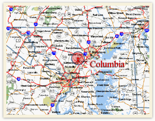 Regional Map Always Caring Assisted Living serving Columbia
